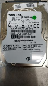 Faulty Toshiba MK5075GSX in need of a head transplant to carry out a physical data recovery